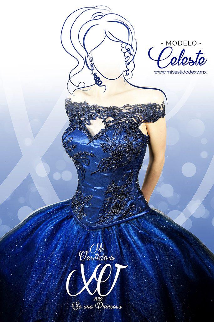mi vestido de 15 azul y pedreria