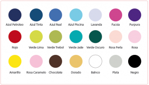 Colores disponibles de los vestidos