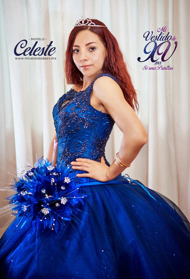 vestido de xv años azul marino cdmx