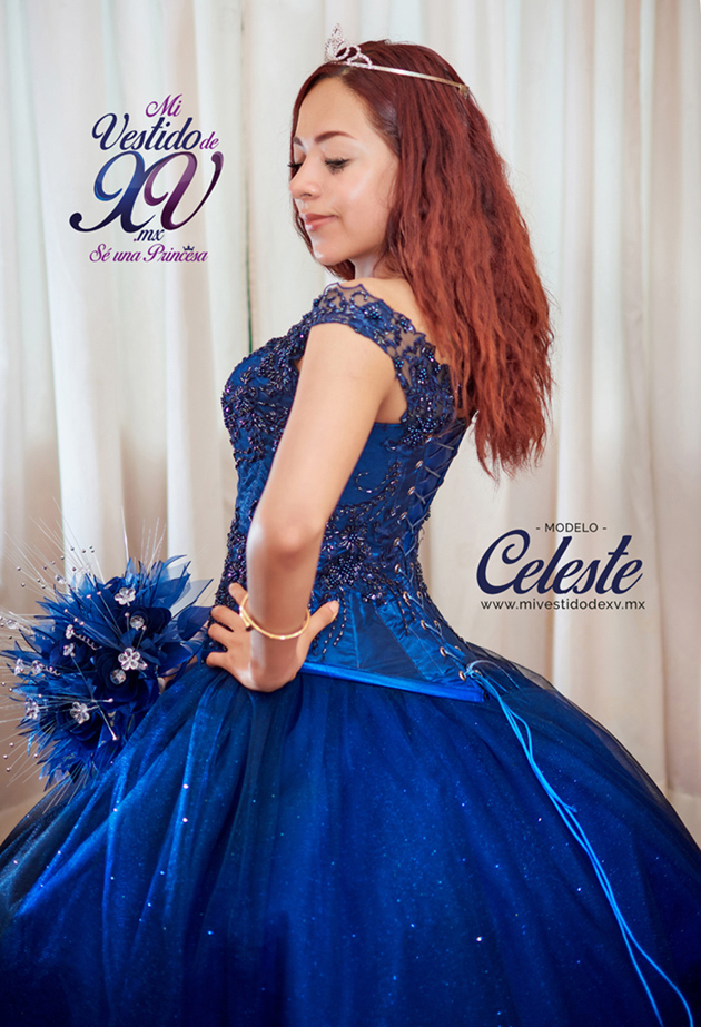 vestido de 15 años azul rey