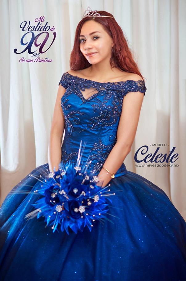 vestido de xv años azul marino