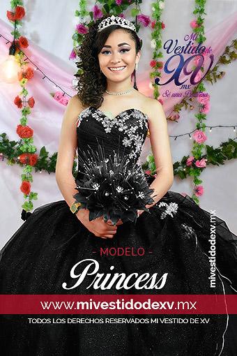 Vestidos de XV años color negro con aplicaciones de plata lo modela un bonita joven con ramo en la mano