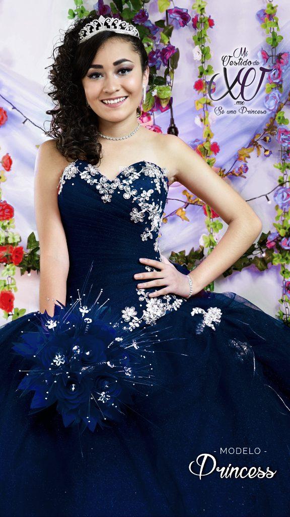 vestido azul marino de 15 años en México
