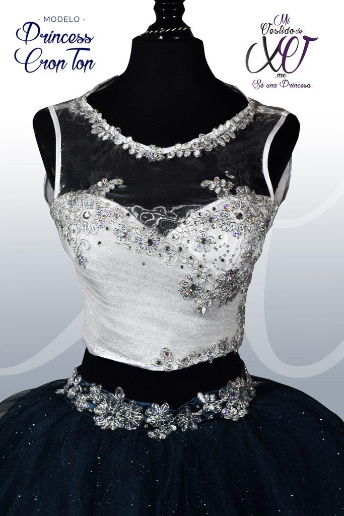 Vestido de 15 Crop-Top Blanco