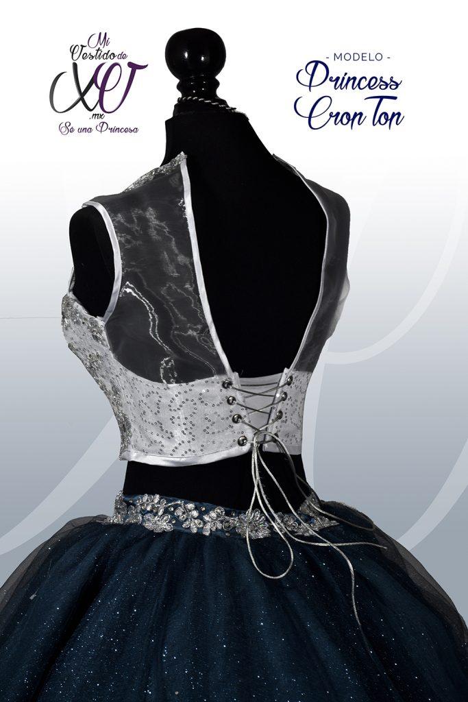 Vestido de 15 Crop-Top Azul
