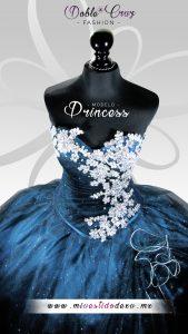 vestido de xv azul con escote mivestidodexv
