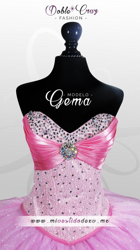 Vestido de Quinceaños en México DF color Rosa con Gema