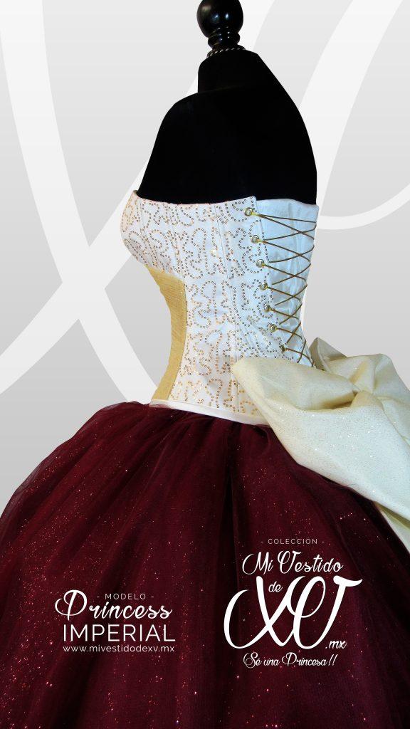 vestido de 15 elegante vino y dorado