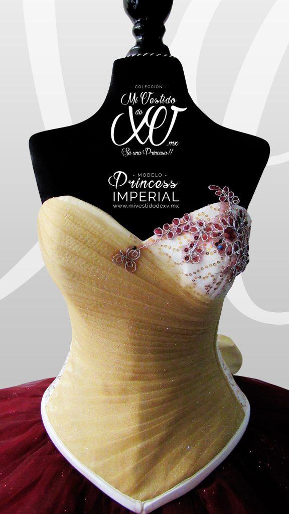 vestido de quince elegante vino y dorado