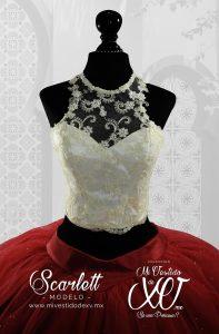 vestido de quince años con crop top tela bordada