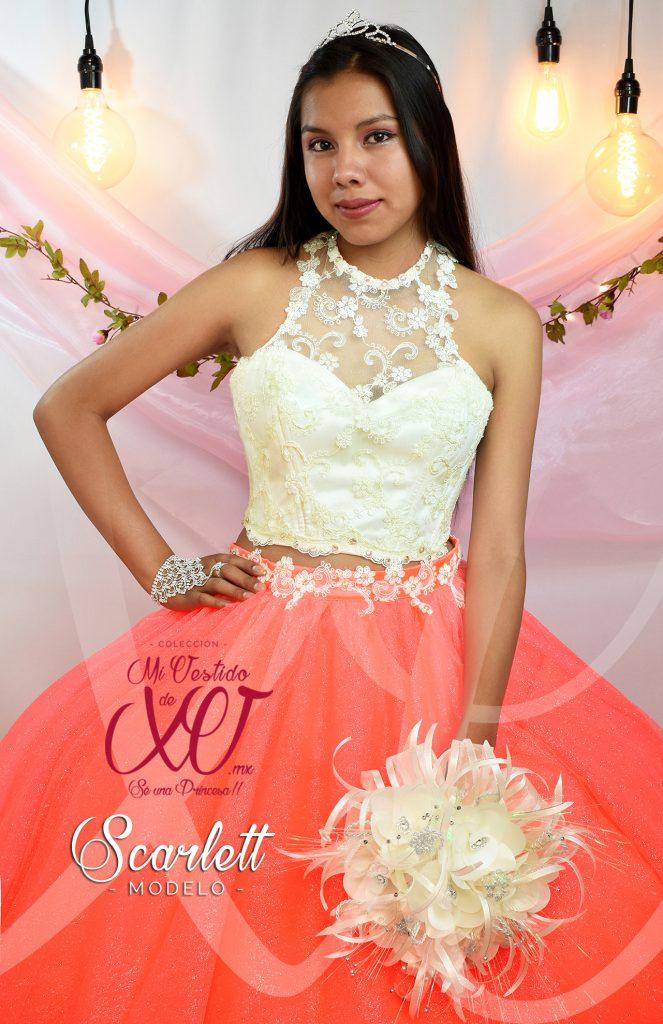 vestido de quince años 15 con croptop color beige hueso en mexico mivestidodexv