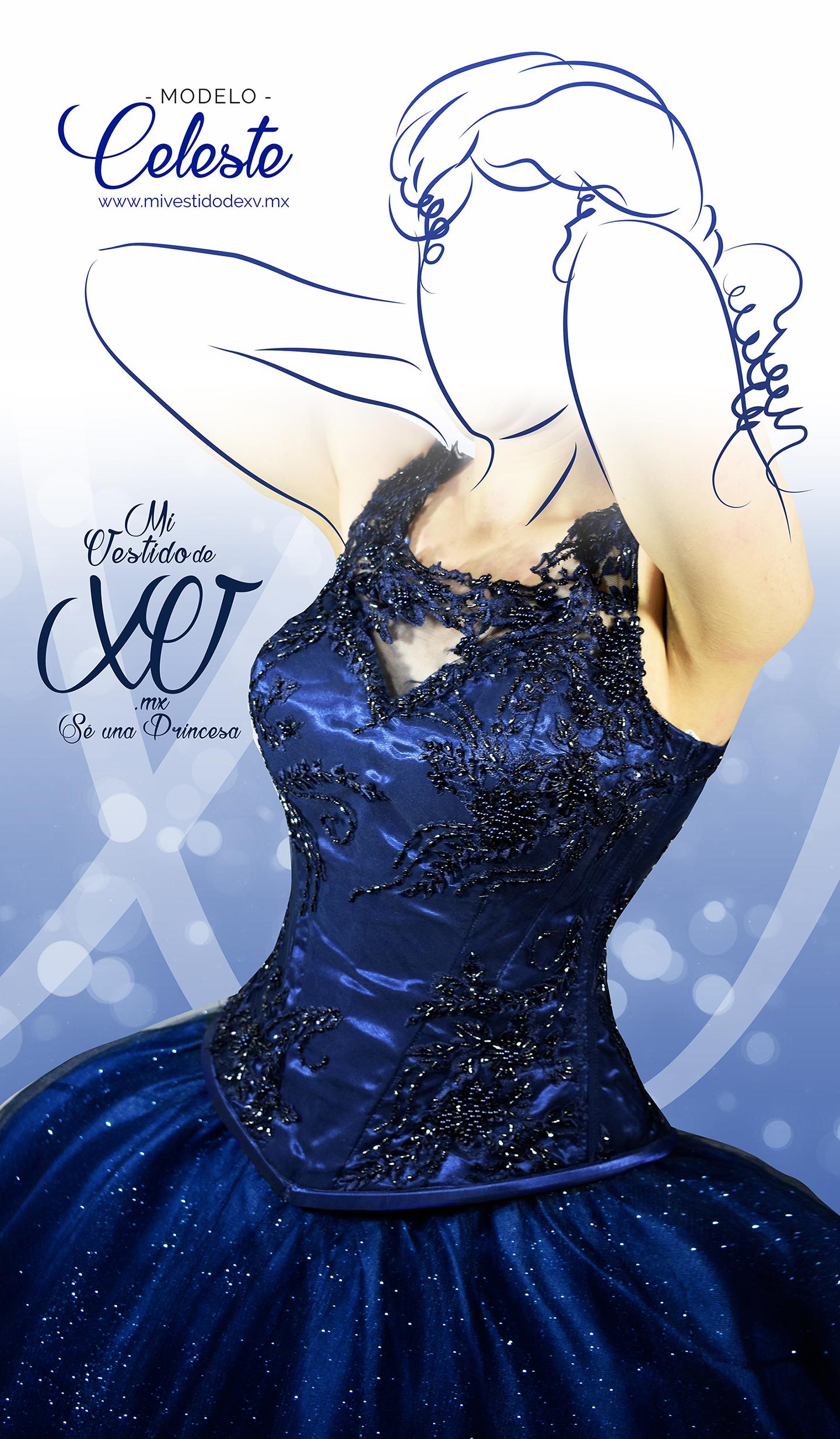 Vestido de Quinceñera con tela bordada y pedrería