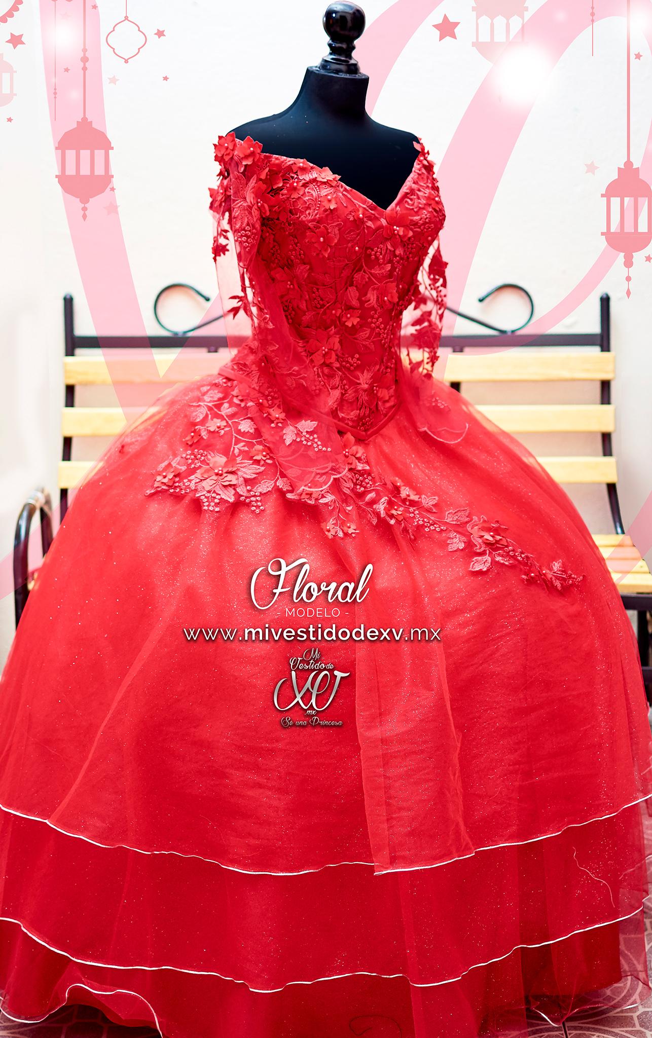 vestido de quince mexico con flores
