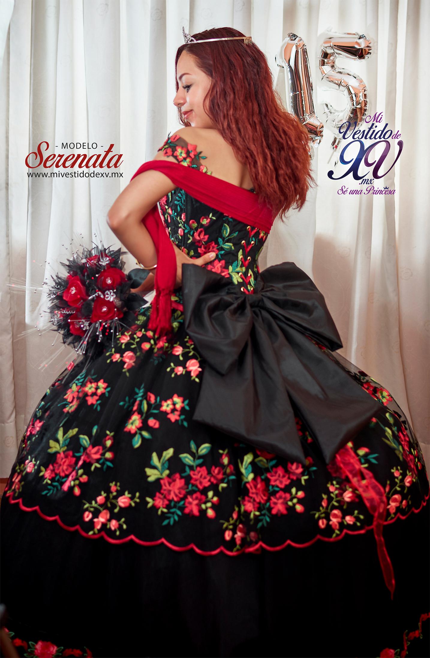 vestido de 15 años mexicano negro cdmx