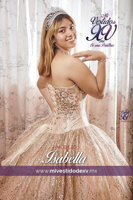 Bella joven posando un vestido de 15 años en color dorado