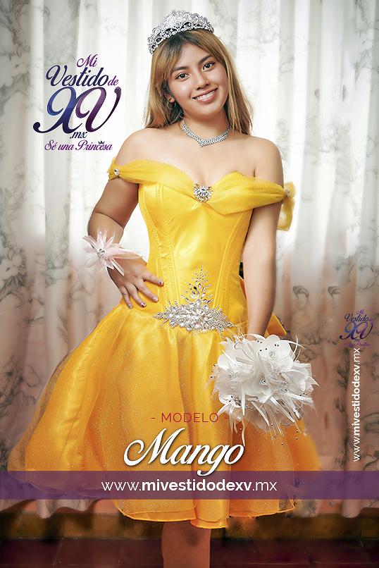 vestido de xv amarillo corto con pedrería