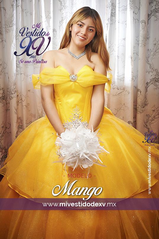 modelo posando un vestido de 15 años en color amarillo