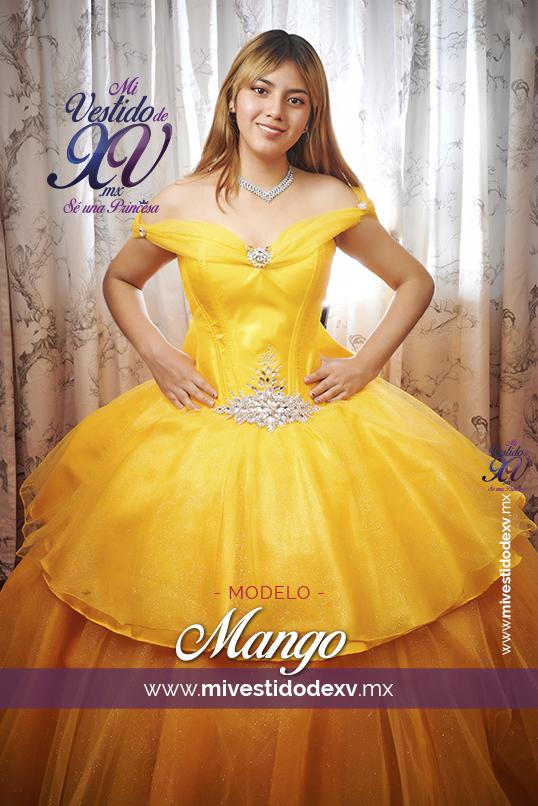 bella joven modelando un vestido de quince años en color amarillo