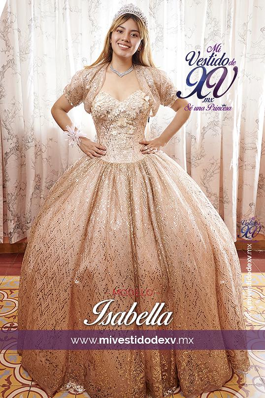 vestido de quinceañera en color blush y dorado
