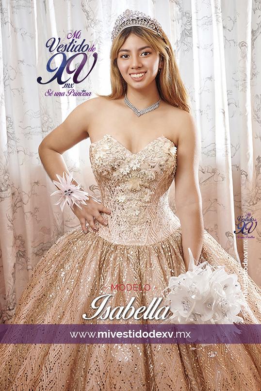 joven quinceañera con vestido dorado con rosa