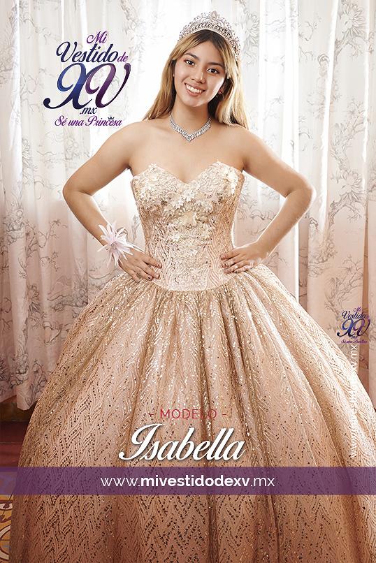vestido de xv años color oro y rosa