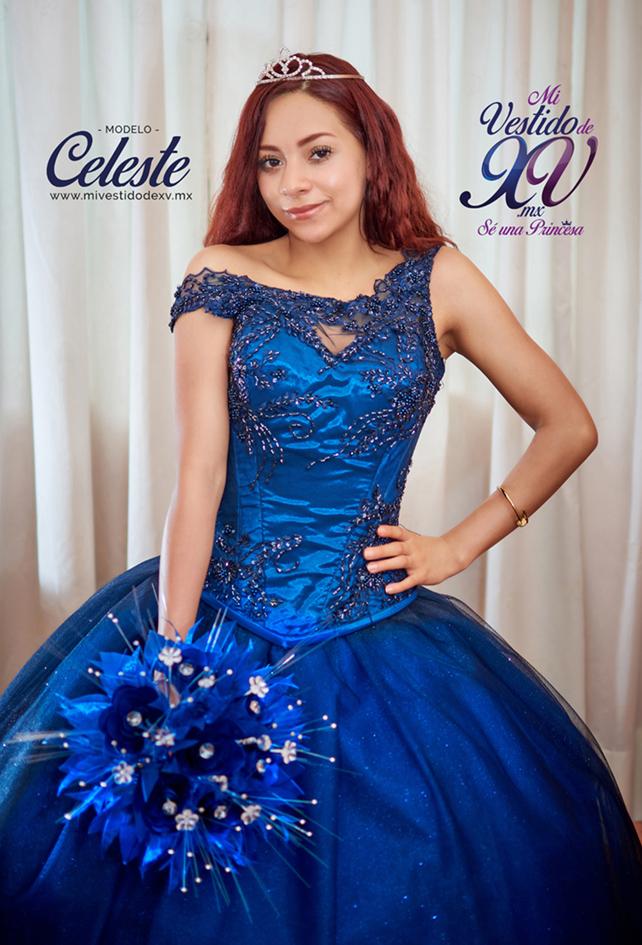 vestido de 15 años azul marino