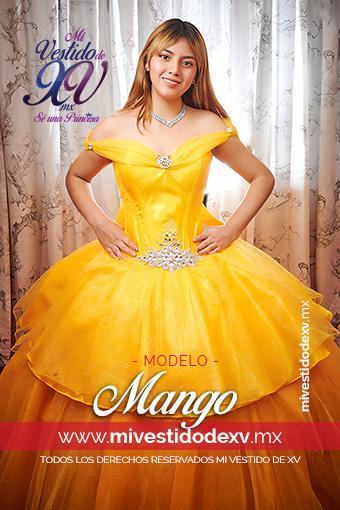 Linda mujer con vestido de quince años de color amarillo con pedrería convertible