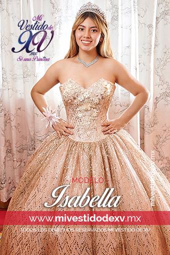 Bella joven con un vestido de xv años en color oro y rosa golden
