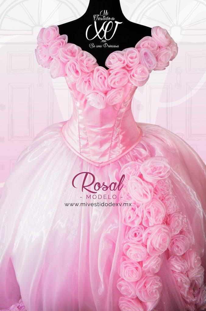 vestido de quince años con rosas